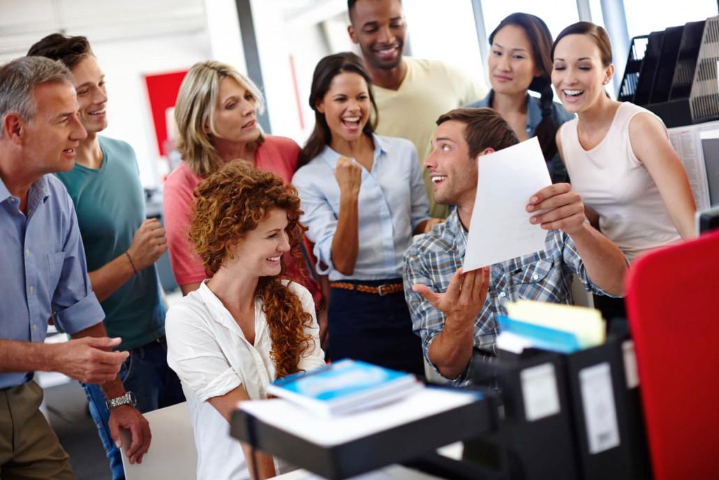 motivierte Mitarbeiter mit Ergebnis